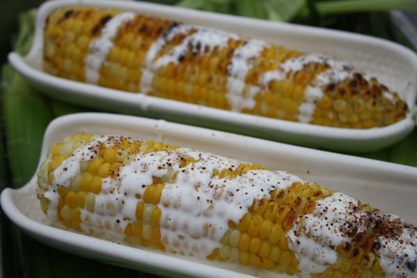 Wonderful farm-fresh corn with Crema Mexicana and salt/pepper/chili powder.  Mmmm....